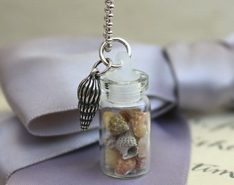 Sea shells in Glass vial pendant with Sterling Shell charm - 18 inch Sterling chain