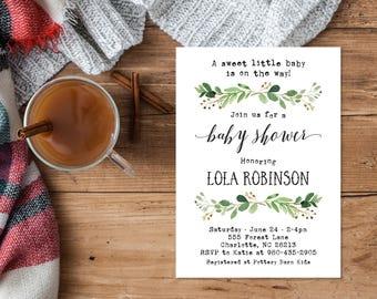Green Woodland Baby Shower Invitation Download, Boy Baby Shower, Gender Neutral, Girl, Greenery Nature Woodland Baby Shower invite 70J