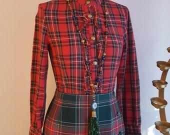 Stewart tartan blouse, size small