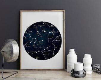 Constellation Art, Constellation Print, Constellation Poster, Constellation, Star Chart, Zodiac Print Constellation Map Zodiac Constellation