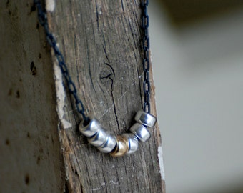 Mingle Necklace - Handmade. Sterling Silver. 14kt Goldfill