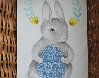 """Original painting Easter Bunny Egg painting, """"Easter Rabbit, Grey"""""""