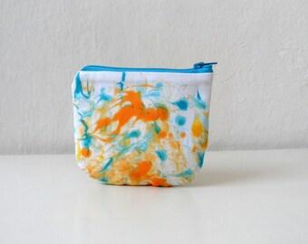Orange Blue  Mini Zip Pouch, Coin Purse Wallet, Credit Card Holder, Small gift idea