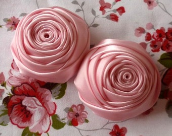 2 Handmade Rolled Roses (2 inches) in Pearl Rose MY-012-12 Ready To Ship