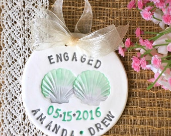 Beach Theme Engagement Ornament with Seashells - Engagement Gift - Wedding Ornament - Wedding Gift - Couple Ornament - Personalized Ornament