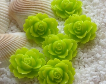 Resin Flower Cabochon - 18mm  x 16mm - 12 pcs - Lime Green