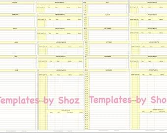 2018 Bullet Journal Yellow Printable PDF File