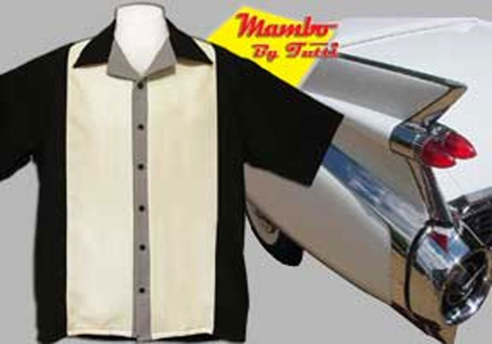 Men's Bowling Shirts - Free Shipping - Retro Style Bowling Shirts - Mambo Black and Cream hnqIFUh