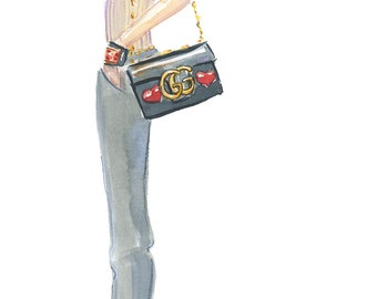 Fashion Print, Gray Jeans and Red Heels Fashion Sketch, Gucci Bag, Fashion Illustration, Fashion Wall Art, Girly Sketch, Watercolour
