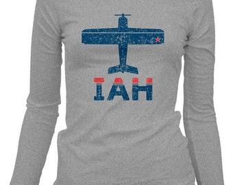 Women's Fly Houston LS T-shirt - IAH Airport Ladies Long Sleeve Tee - S M L XL 2x - Houston Shirt - 2 Colors