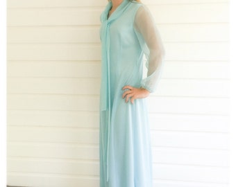 Seventies Wynette Blue Maxi Dress