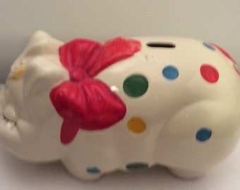 "LARGE 14"" Vintage 1940s Hull/McCoy Art Pottery Ceramic Polka Dot Piggy Bank"