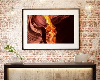 Sandstone Canyon   Purple Red Orange Yellow Stone Rock   Antelope   Fine Art Photography   polychromatophil   Photo   Glowing   Warm Light