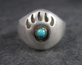 Vintage Navajo Shadowbox Bear Paw Ring Size 11