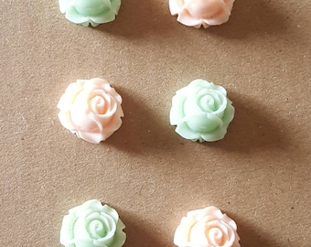 Rose Thumb Tacks ~ Set of 6 ~ Peach & Light Teal ~ Cubicle Decor ~ Teacher Gifts ~ Co-Worker Gifts