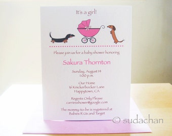 Dachshunds with Buggy.Carrier.Stroller.Pram Baby Shower Invitations or Birth Announcements - Choose Your Color (Set of 10)