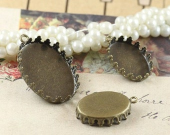Antique bronze pendant trays oval crown-edged cabochon mountings, 2 size available- 13x18mm/ 18x25mm