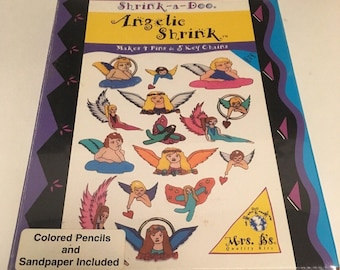 Shrink-A-Doo 90s Vintage Craft Kit Angelic Shrink Makes 4 Pins 5 Key Chains Sealed New Old Stock Vintage Mrs. B's Quality Craft Kits