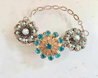 REDUCED!!  Vintage Silver and Gold Tone Fillagree Upsycled Jewelry Findings Bracelet Rhinestone/Turquoise