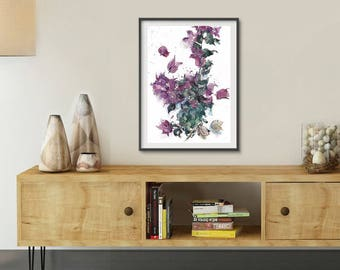 Purple Bougainvillea, Purple Flowers Print, Purple Watercolor, Abstract Flowers Print, Gift for Her, Living Room Wall Art, Valentine Gifts