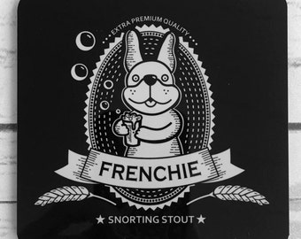 French Bulldog Beer Label Coasters - Set of 4