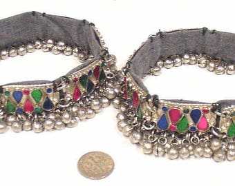 belly dance anklets 2 matching central Asia nomads gypsy bells renaissance festival e1439
