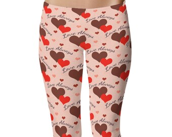 Love Leggings, Valentines Leggings, Heart Leggings, Womens Valentine's Day Outfit, Love Always Printed Tights