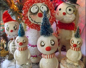 Doll on a block tree head snowman made to order