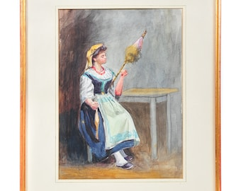 After Carlton Smith 19th C. Sketch of a Woman  spinning flax