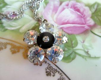 Vintage rhinestone Headlight flower necklace pendant