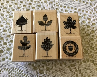 Falling Leaves wooden rubber stamp set by Stamping Up! Partial set, card making, scrapbooking, mixed media, thankful, thanksgiving