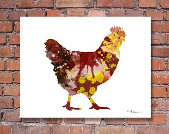 Chicken Art Print - Abstract Watercolor Painting - Wall Decor