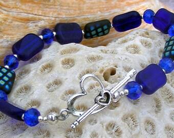 Silver Blue Glass Bracelet,Jewelry