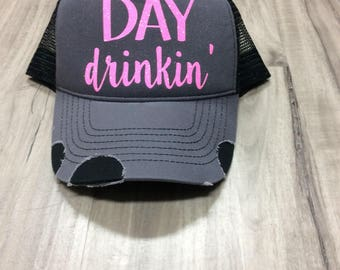 Day Drinkin' Trucker Hat Distressed Trucker Hat Summer Hat Vacation Hat Vegas