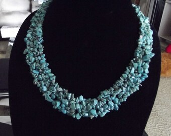 SALE: Natural Turquoise Chip Necklace Southwestern Woven Blue Green Statement Necklace with Sterling Lobster Claw Clasp 20 Inches Long