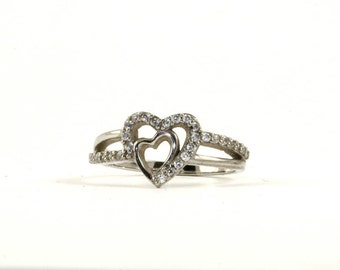 Vintage Heart Shape CZ Inlay  Ring 925 Sterling Silver RG 2392