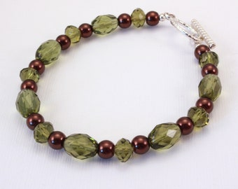 Green Crystal and Brown Pearl Bracelet