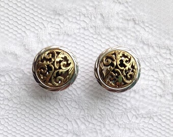 """Gold and Silver Tone Ornate Vintage Style Wedding Pair Plugs Gauges Size: 0g (8mm), 00g (10mm), 1/2"""" (12mm)"""