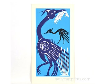 Vintage Blue Heron Print 1984 Salish Artist Stan Greene Edition of 60 Northwest Native American Serigraph