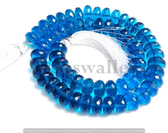 Paraiba Blue Quartz Faceted Beads, Paraiba Blue Faceted Roundel Briolette Beads, 12 mm, 10 Inch 1 Strand Gemstone Beads.