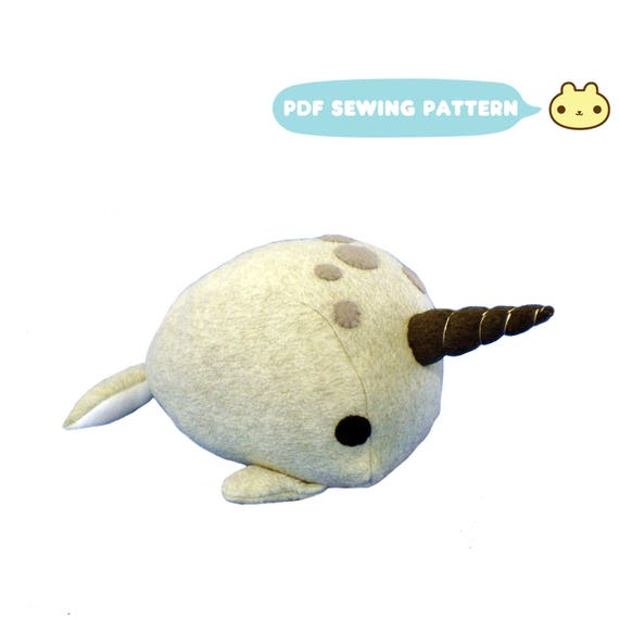 Narwhal Toy Sewing Pattern DIY Narwhal Plush Stuffed Toy