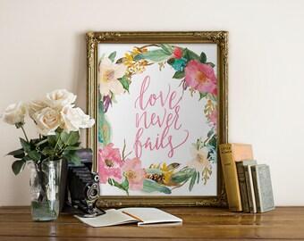 Love Never Fails Printable Art Handlettered // office decor, wall print, wall decor // Peachpod Paperie
