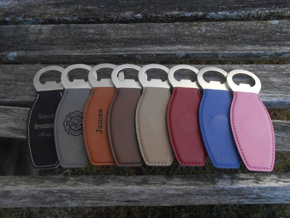 Customized Bottle Opener, Leather. Laser Engraved. Wedding, Men, Groomsmen Gift, Dad, Anniversary. Groom, Birthday, Christmas, Stepdad