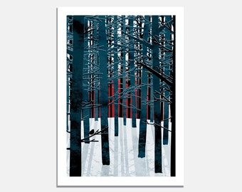 Northern Forest Art Print / trees / tree trunks / winter / sun / snow / wall art / art for walls / blue / red / bird / nature / wilderness