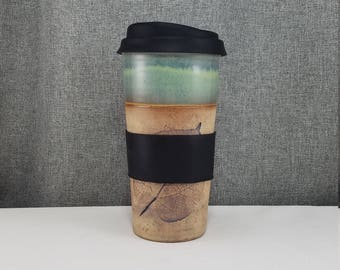 IN STOCK* Stoneware Travel mug / Commuter mug with silicone lid - Leafs/ Teal-Violet
