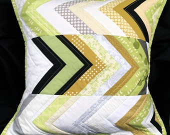 Modern Chevron Pillow with Green, Gold, Black, Grey, Cream, and White Zig-Zags