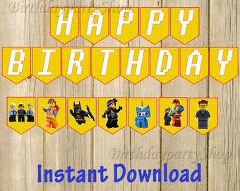 The Lego Movie Banner, Lego Movie Birthday Banner, Digital File