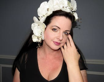 IVORY TROPICS Ivory and Antiqued Orchid  Tropical Style Headdress