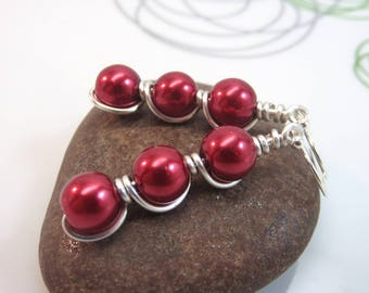 red pearl earrings - wire wrapped glass pearl earrings red Christmas earrings silver wire wrapped earrings red glass earrings sterling hooks