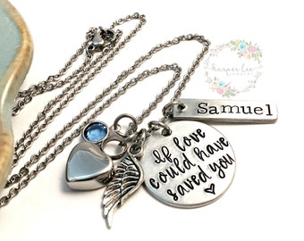 Cremation Urn Pendant Necklace ~ If love could have saved you ~ Custom Pet Loss Remembrance Memorial Necklace - Angel Wing ~ Birthstone